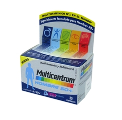 MULTICENTRUM HOMBRE SELECT 50+ MULTIVITAMINICO Y MULTIMINERAL 30 COMPRIMIDOS